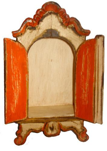 oratório de madeira entalhado e pintado a mão coleção luxo