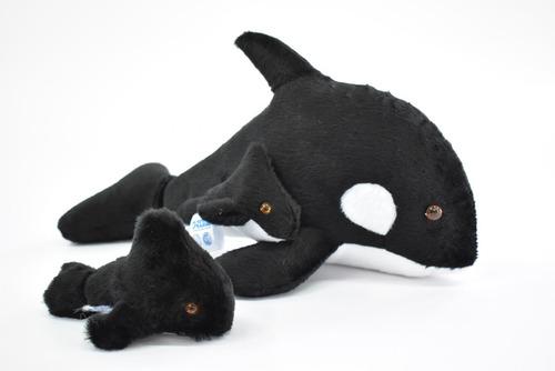 orca con bebé + orca 12 cm mundo marino