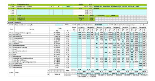 orçamento personalizado e cronograma de obra até 100 m².