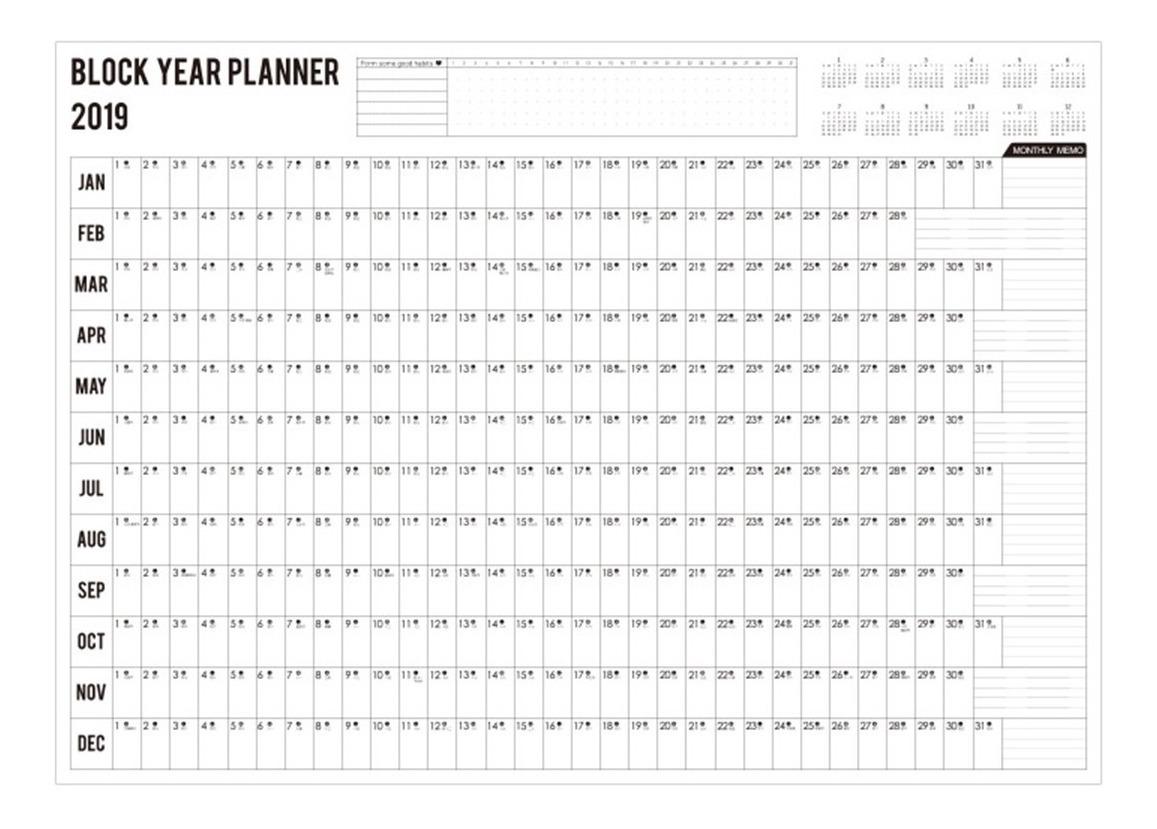 Calendario Diario 2019.Orden Del Dia Anual 2019 Calendario Diario Blanco