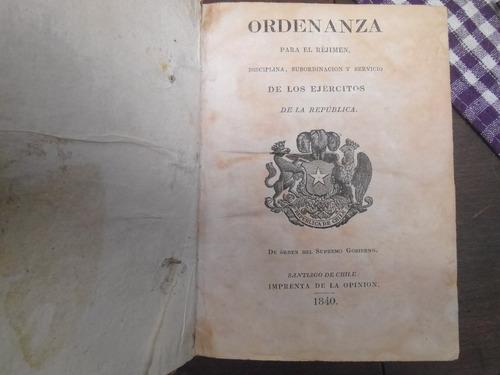 ordenanza del ejercito de chile 1840