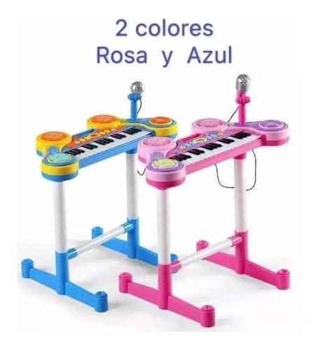 organeta piano de mesa para niñas rosada con silla