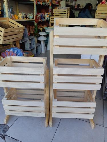 organizador 2 niveles de madera huacal de decoracion