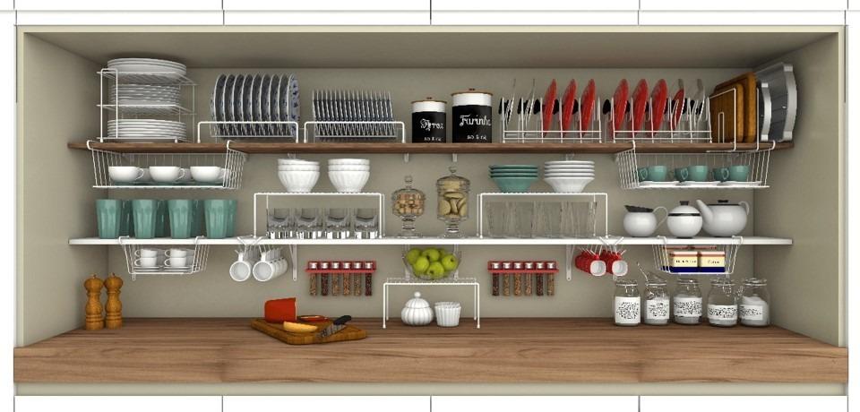 Organizador de pratos arm rio cozinha aramado a o refor ado r 37 90 em mercado livre - Organizador armarios ...