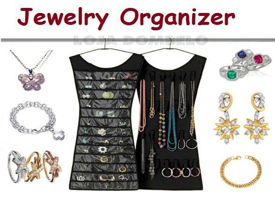 6756efdf729 organizador bijuteria joias costura vestido de cabide preto. Carregando  zoom.