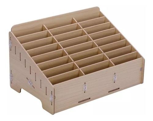 organizador caja de madera para 24 telefonos celulares