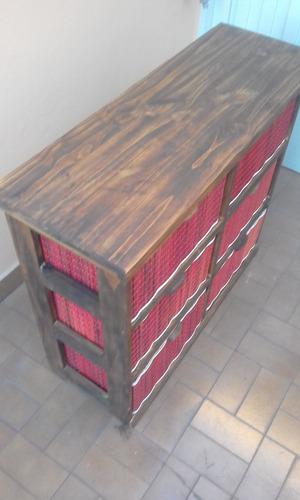 organizador cajonera mimbre junco 6 canastos mueblesmueblart