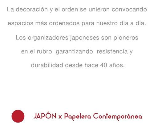 organizador canasta blanca manijas tipo madera japón