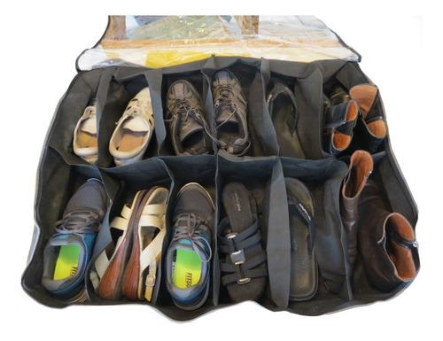 organizador de 12 pares de zapatos bajo cama o placard