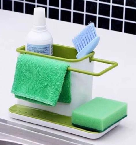 organizador de bacha esponja cepillo trapo detergente
