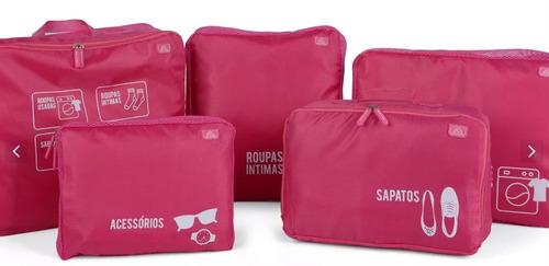 organizador de bagagem mala viagem kit 5 necessaire
