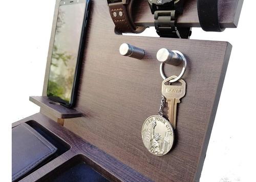 organizador de buro caballero organizador reloj celular llaves cartera elegante madera
