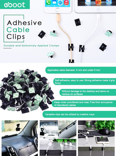 organizador de cables clips adhesivos eboot holder