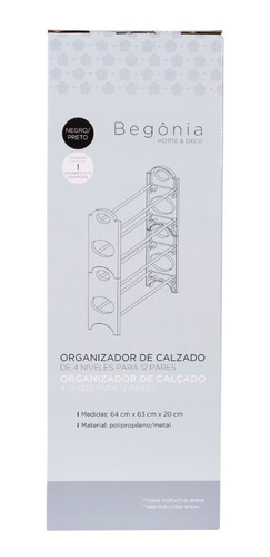 organizador de calzado de 4 niveles para 12 pares begônia