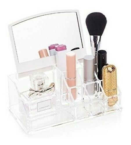 organizador de cosmeticos maquiagem com espelho 16 divisoria