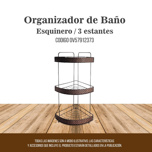 organizador de ducha esquinero 3 estantes color marron
