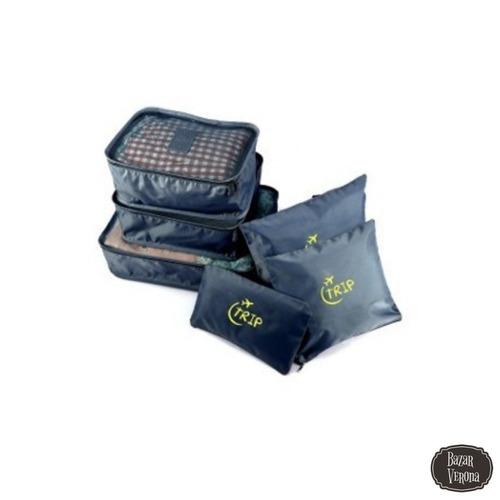 organizador de equipaje valija set de 6 colores surtidos mix