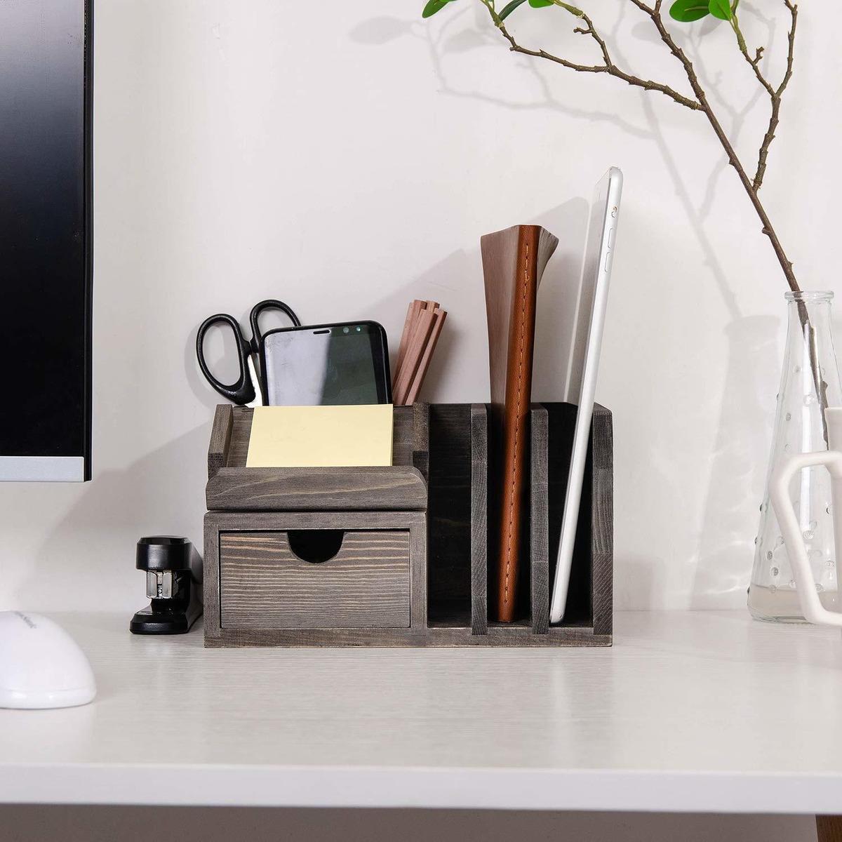 Rusticity de Madera Organizador de Escritorio para Oficina y casa-4 Compartimentos 7.7x4.6 en Hecha a Mano