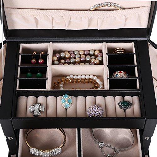 organizador de joyas y relojes songmics cuero