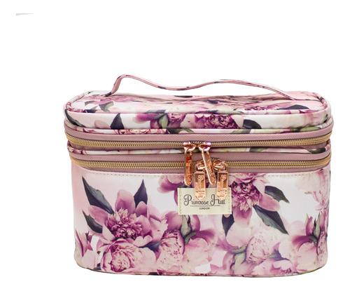 organizador de maquillaje grande floral rosa a013112gumx