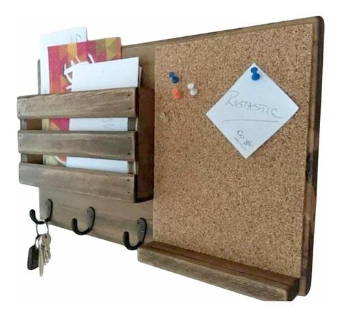 organizador de pared, corcho, estante y perchero. madera