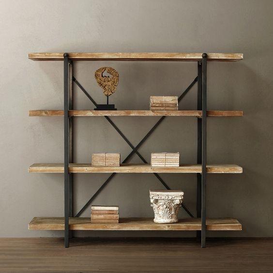 Organizador de repisas mueble industrial vintage madera for Comprar mueble industrial