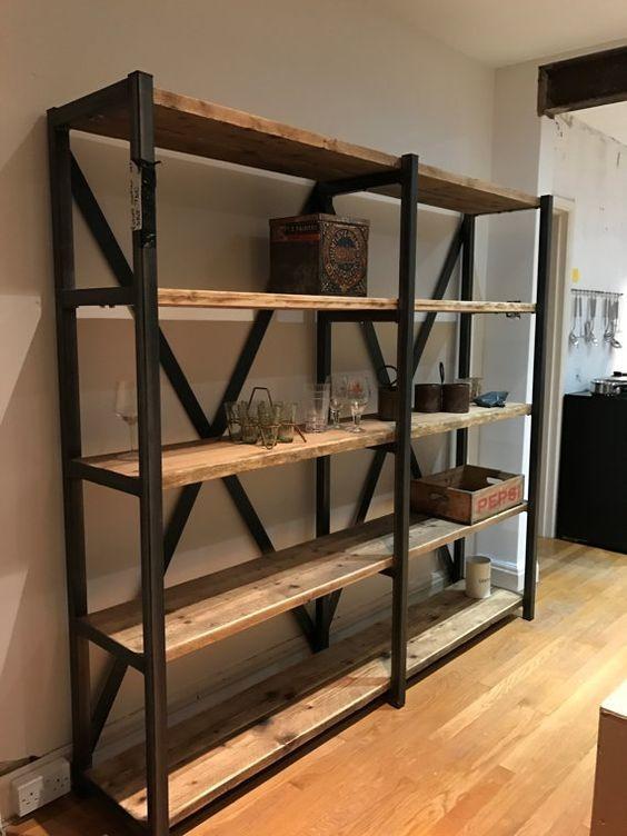 Organizador de repisas mueble industrial vintage madera for Muebles industriales madera y hierro