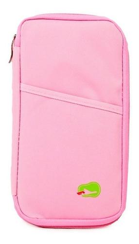 organizador de viaje tarjetas pasaporte celular color rosa