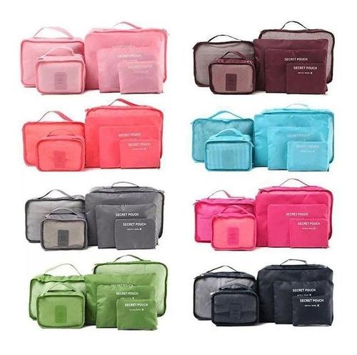 organizador de viaje valija set 6 kit estuche ropa neceser