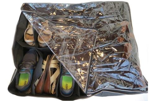 organizador de zapatos bajo cama 12 zapatos tapa transparent