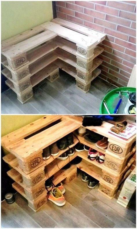 Organizador De Zapatos De Palet Pallet Reciclado 220000 En - Reciclaje-de-palet