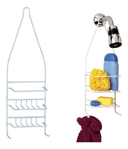 organizador ducha chico acero blanco baño 2 estantes deco