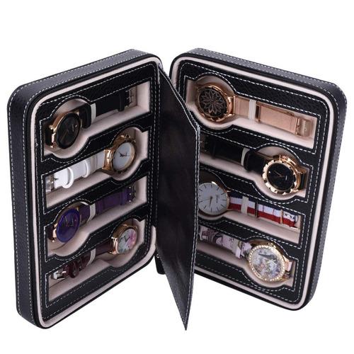 organizador estuche caja 8 relojes importada negro