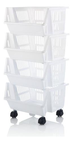 organizador multiestante x 4 canastas con rodachines blanco