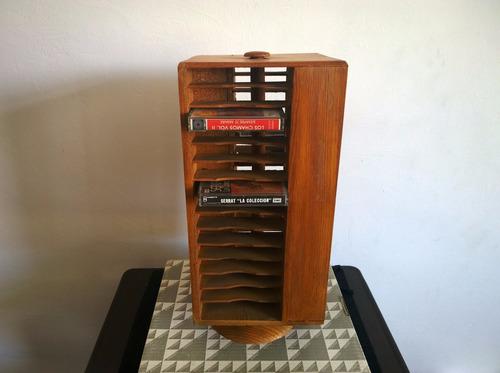 organizador para cassetes en madera giratorio ( 60 cassetes)