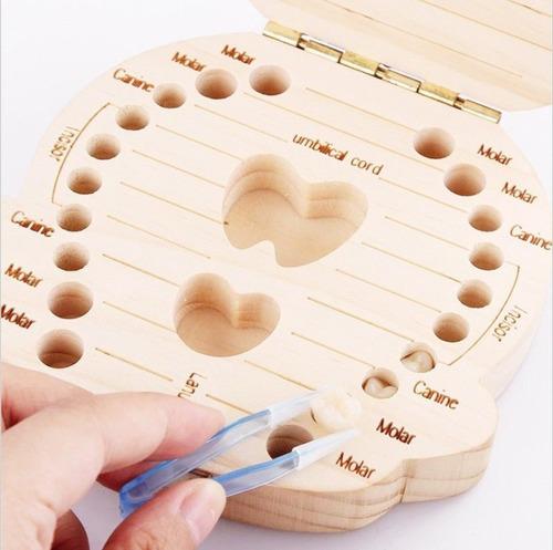 organizador para dientes de leche cajita en madera