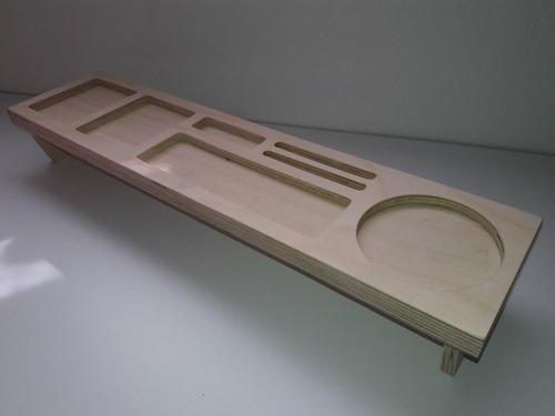 organizador para escritorio en madera natural-envio incluido