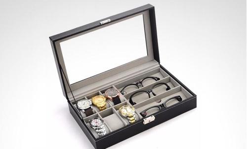 organizador para relojes y gafas 9 compartimentos. solo cafe