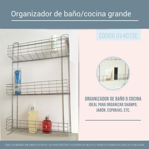 organizador pared baño ducha y cocina 3 estantes colgante pc