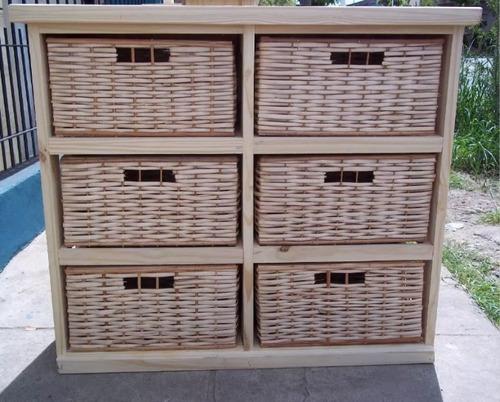 organizador pino y mimbre x 6 canastos / ordenador mimbre