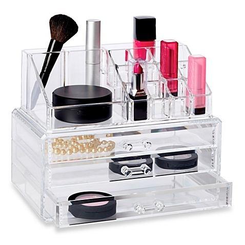 organizador porta cosmeticos en acrilico con espejo mujer
