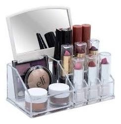 organizador porta maquiagem cosmeticos com espelho esmalte