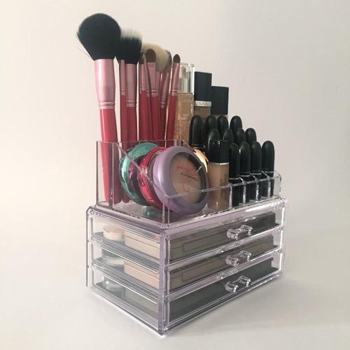 organizador porta maquiagem pincel batom acrílico 3 gavetas