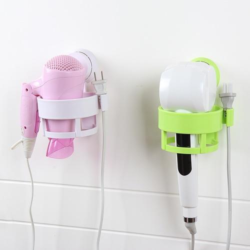 organizador suporte porta secador de cabelo com ventosa fixa