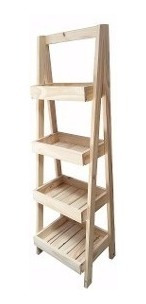 organizador tipo escalera de pino 4 estantes 0.40x1.40