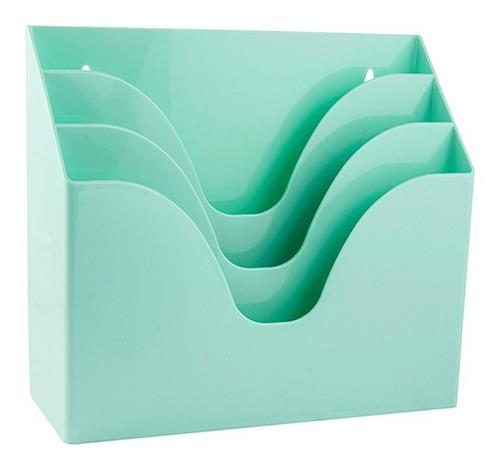 organizador triplo waleu office verde pastel