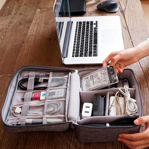 organizador viaje bolso premium cables cargador digitales con velcro