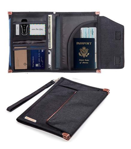 organizador viaje ejecutivo tarjetero porta pasaporte agenda