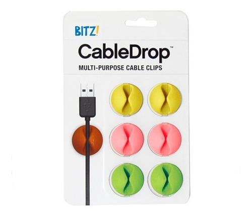 organizadores de cables cabledrop.blister x 6 colores fluo