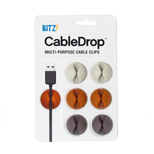 organizadores de cables cabledrop.blister x 6 colores opacos